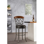 Dundee Swivel Bar Stool, Dark Coffee Finish, Brown Vinyl Seat, 21.5''W x 21.5''D x 46.5''H