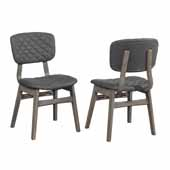 Alden Bay Modern Diamond Stitch Upholstered Dining Chairs - Set of 2 in Weathered Gray Wood with Gray Fabric, 22-3/4''W x 18''D x 34''H