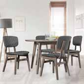 Alden Bay Modern 5-Piece Round Dining Set with Wood and Upholstered Side Chairs in Weathered Gray and Quilted Gray Upholstery