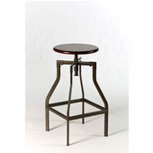 Cyprus Adjustable Backless Stool, Pewter/Distressed Cherry Finish, 15.25''W x 15.25''D x 30''H
