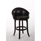 Dartford Swivel Bar Stool, Dark Brown Cherry Finish, Black Vinyl Seat, 25.75''W x 25''D x 40''H