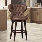 Mid-City Wood and Upholstered Swivel Bar Height Stool, Chocolate, 25''W x 25-1/2''D x 44-1/2''H
