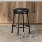 Valera Decorative Backless Metal Swivel Bar Height Stool with Capped Legs, Black, 16''W x 16''D x 26''H