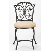 Sparta Vanity Stool in Black Gold Metal, 16-1/2'W x 17-1/2'D x 32-1/4'H