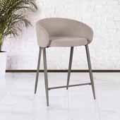 Cromwell Metal Counter Height Stool, Taupe Velvet, 23''W x 24-1/4''D x 34-1/4''H