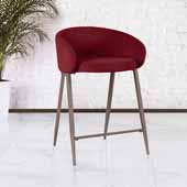 Cromwell Metal Counter Height Stool, Burgundy Velvet, 23''W x 24-1/4''D x 34-1/4''H
