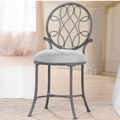 O'Malley Collection Vanity Stool in Metallic Grey, 16'' W x 19-1/2'' D x 33-3/4'' H