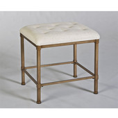 Hillsdale Katherine Backless Vanity Stool in Golden Bronze / Cream Fabric, 15''W x 18''D x 18''H