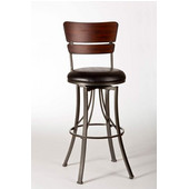 Santa Monica Swivel Bar Stool, Pewter/ Distressed Cherry Finish, Black Vinyl Seat, 17''W x 20''D x 44.25''H