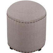 Laura Backless Vanity Stool, Gray Fabric