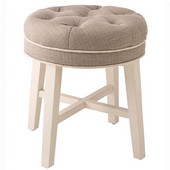 Sophia Vanity Stool in White Finish and Linen Gray Fabric, 16'' W x 16'' D x 18'' H