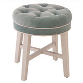 Sophia Vanity Stool in White Finish and Spa (Aqua Blue) Fabric, 16'' W x 16'' D x 18'' H