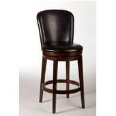 Victoria Swivel Counter Stool, Dark Brown Cherry Finish, Black Vinyl Seat, 19.5''W x 23''D x 42.25''H