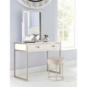 Swanson Vanity Stool in White Finish and Bone Fabric, 15-3/8'' Diameter x 17-3/4'' H