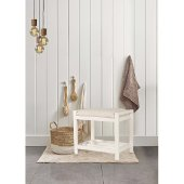 Amelia Vanity Stool in White Finish and Ecru Fabric, 21'' W x 14-1/2'' D x 18-1/2'' H