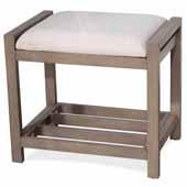 Amelia Vanity Stool, Antique Gray, Ecru Fabric Upholstery, 21''W x 14-1/2''H x 18-1/2''H