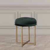 Maura Tufted Backless Metal Vanity Stool, Emerald Green Velvet, 16''W x 16''D x 19''H