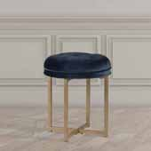 Maura Tufted Backless Metal Vanity Stool, Sapphire Blue Velvet, 16''W x 16''D x 19''H