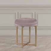 Maura Tufted Backless Metal Vanity Stool, Blush Pink Velvet, 16''W x 16''D x 19''H