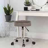 Nora Tufted Backless Adjustable Metal Vanity/Office Stool, Gray Velvet, 20-1/4''W x 20-1/4''D x 19 to 24-1/2''H