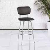 Bloomfield Retro Metal Upholstered Seat and Back Swivel Bar Height Stool, Set of 2, Chrome, 18-1/4''W x 20-3/4''D x 42-1/4''H