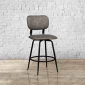 Bloomfield Retro Metal Upholstered Seat and Back Swivel Bar Height Stool, Set of 2, Matte Black, 18-1/4''W x 20-3/4''D x 42-1/4''H