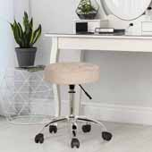 Nora Tufted Backless Adjustable Metal Vanity/Office Stool, Cream Velvet, 20-1/4''W x 20-1/4''D x 19 to 24-1/2''H