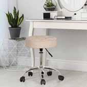 Nora Tufted Backless Adjustable Metal Vanity/Office Stool, Cream Velvet, 20-1/4''W x 20-1/4''D x 19 to 24-1/2''H