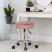 Nora Tufted Backless Adjustable Metal Vanity/Office Stool, Dusty Pink Velvet, 20-1/4''W x 20-1/4''D x 19 to 24-1/2''H