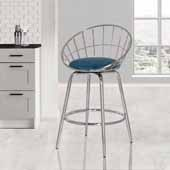 Bullock Rounded Disc Metal Swivel Counter Height Stool, Teal Blue Velvet, 20-1/2''W x 18-1/2''D x 34-3/4''H