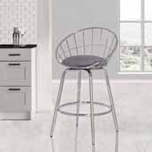 Bullock Rounded Disc Metal Swivel Counter Height Stool, Silver Gray Velvet, 20-1/2''W x 18-1/2''D x 34-3/4''H