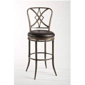 Jacqueline Swivel Bar Stool, Rubbed Pewter/Black Finish, Balck Vinyl Seat, 22''W x 19''D x 46.25''H