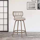 Canal Street Geometric Circle Back Metal Adjustable Stool with Nested Legs, Champagne Gold , 17-1/2''W x 18''D x 34-1/2 to 38-1/2''H