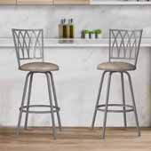 Flanery Swivel Adjustable Stool with Nested Legs, Set of 2, Silver, 17-1/2''W x 17-3/4''D x 39-1/2 to 43-1/2''H