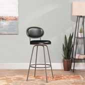 Rollins Oval Upholstered Back Metal Adjustable Stool with Nested Legs, Champagne Silver, 16-1/2''W x 17-1/2''D x 37 to 41''H