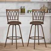 Deacon Swivel Adjustable Stool with Nested Legs, Set of 2, Brown, 17-1/2''W x 17-3/4''D x 39-1/2 to 43-1/2''H