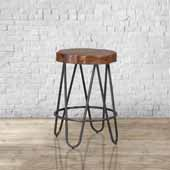 Pembra Backless Counter Height Stool with Wood Seat, Natural Sheesham, 17''W x 17''D x 26''H