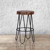 Pembra Backless Bar Height Stool with Wood Seat, Natural Sheesham, 17''W x 17''D x 26''H