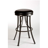 Ontario Backless Counter Stool, Pewter Finish, Black Vinyl Seat, 17''W x 17''D x 26''H
