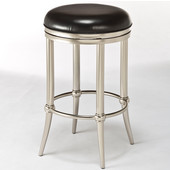Cadman Collection Backless Counter Stool in Black/Dull Nickel, 17'' Diameter x 17'' D x 26'' H