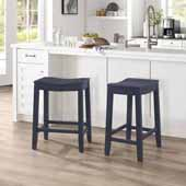 Fiddler Backless Wood Counter Height Stool, Navy, 18''W x 12''D x 24''H