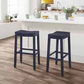 Fiddler Backless Wood Bar Height Stool, Navy, 18''W x 12''D x 30''H