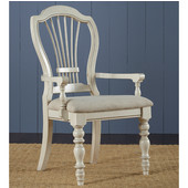 Pine Island Wheat Back Arm Chair, Set of 2, Old White & Ivory Finish, 23-5/8'' W x 24-3/4'' D x 42-1/8'' H