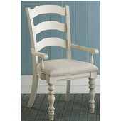 Pine Island Ladder Back Arm Chair, Set of 2, Old White & Ivory Finish, 23-1/2'' W x 24'' D x 40-1/4'' H