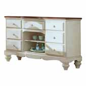 Pine Island Buffet, Old White with Dark Top, 61-1/4''W x 19-1/2''D x 36''H