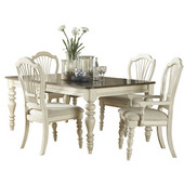 Pine Island 5-Piece Dining Set, with Wheat Back Chairs, Old White Finish