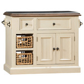 Tuscan Retreat ® Collection Medium Granite Top Kitchen Island with Two (2) Baskets, Country White Finish with Oxford (Antique Pine) Top, 41'' W x 23'' D x 34''H