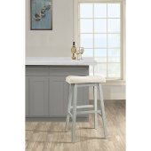 Moreno Non-Swivel Backless Counter Stool in Blue Gray Finish and Ecru Fabric, 18'' W x 9-1/2'' D x 24'' H