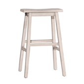 Moreno Non-Swivel Backless Bar Stool in Sea White Finish, 18'' W x 9-1/2'' D x 29'' H