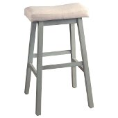 Moreno Non-Swivel Backless Bar Stool in Blue Gray Finish and Ecru Fabric, 18'' W x 9-1/2'' D x 30'' H